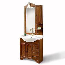 Mobile bagno legno arte povera cm 75 con specchiera applique e pensile laterale