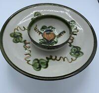 Vintage HARVEST PEAR Chip & Dip Bowl JOHN B. TAYLOR LOUISVILLE STONEWARE POTTERY