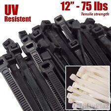 NiftyPlaza 12 Inch Cable Ties - 100 Pack Heavy Duty - 75 lbs Nylon Wrap Zip Ties