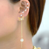 Butterfly Crystal Fringe Earrings Long Hollow Ear Clip Studs Earrings Jewelry FT