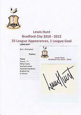 LEWIS HUNT BRADFORD CITY 2010-2012 ORIGINAL HAND SIGNED CUTTING/CARD
