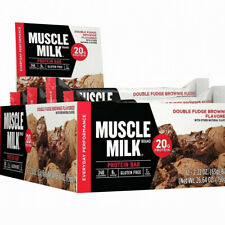 CYTOSPORT MUSCLE MILK RED DOUBLE FUDGE BROWNIE BAR PROTEIN 20gm / 12 BARS CASE