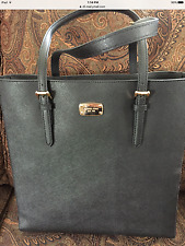 MICHAEL KORS NWT BLACK GREY JET SET LARGE NORTH SOUTH LEATHER TOTE BAG