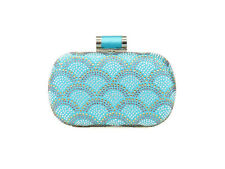 Multi Color Rhinestone Fan Clutch Evening Bag with Tilt Knot Clasp -Turquoise