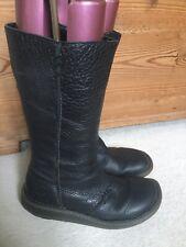 Doc Martens Wedge Zip Mid Calf Black Leather Ladies Boots Uk6/39 Excellent Condi