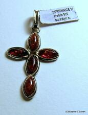 So Dainty! Vintage Sterling Silver & Polish Amber Cross Pendant for Necklace