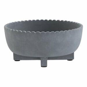 "Succulent Planter 8"" Ceramic Gray Flower Pot  Shallow Bowl Pottery NEW"