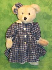 "Boyd's Bears Plush Teddy~CASSIDY~BLUE GINGHAM DRESS~16""~QVC Exclusive~"