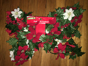 NEW Red White Poinsettia Fabric Garland Green Leaves Christmas Deco 6 Feet Long