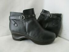 SANITA Black Leather Zip Clog Ankle Boots Womens Size 40 EUR Style 462201