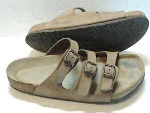 Birkenstock Florida Soft Brown Leather 3 Strap Slip On Women EU 41 US L10-M8