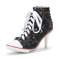 Women's Rivet Canvas Lace up High Heel Ankle Boots Fashion Sneakers