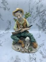 Vintage Norleans Porcelain Figurine of a Man, His Pipe & His Dog Against a Tree