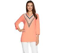 Bob Mackie Embellished 3/4 Sleeve V Neck Knit Top Size L LIME Color