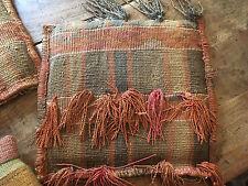 VTG Set of 2 Textile Art Wool Pillows Authentic Original Hand Woven Handmade