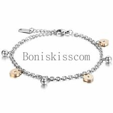 Love Lock and Key Charm Stainless Steel Chain Bridal Wedding Anklet Foot Jewelry