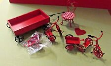 DOLL HOUSE MINIATURES THREE WAGON TWO TRICYCLE ONE CHARGE TOYS RED FIGURINES LOT