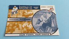 2001/02 WHL KOOTENAY ICE POCKET SCHEDULE***WESTERN HOCKEY LEAGUE***