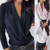 Plain Casual Long Sleeve V Neck Ladies Office Work Shirt Tops Women Blouse OL