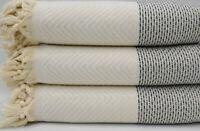 Pure Cotton Turkish White and Black Throw Blanket