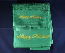 2 Piece Bath Set - Holiday Green Bath and Hand Towel with Happy Holidays