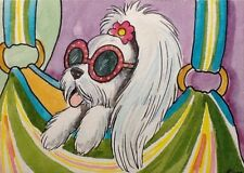 ACEO Original By Kit Lundwall Watercolor Ink Dog Maltese