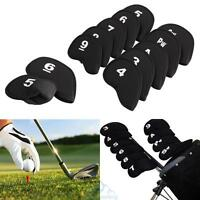 10pcs Golf Head Cover Club Iron Putter Head Protector Set Neoprene Black