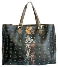 Authentic MCM Black Visetos Coated Canvas Leather Princess Lion XL Tote Bag