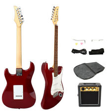 New Electric Guitar + 10W Amp + Gig Bag Case + Guitar Strap Beginners Rosy
