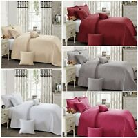 3 Piece Embossed Quilted Bedspread Set Bed Throw Comforter Single Double King