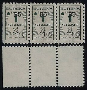 Eureka and Blank Test Stamps Strips of 3 Thrift / Savings Stamps Mint NH