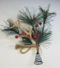 Christmas Faux Reindeer Antler Tree Topper Pine Berries
