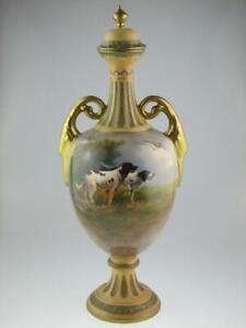 Antique Large Crown Devon Dogs Vase Signed R.Hinton Circa 1900
