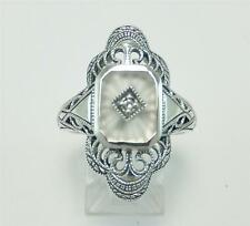 Art Deco Antique Camphor Glass Ring Diamond Sunray Cut Size 6 Stunning Sterling