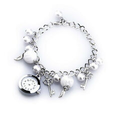 Fashionable Girls Womens Quartz Charms Pearl Bracelet Wristwatch Chain Hot LW