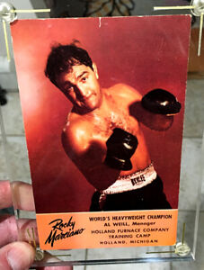 ROCKY MARCIANO AUTOGRAPHED 1950s HOLLAND FURNACE POSTCARD PHOTO--SIGNED TO ROCKY