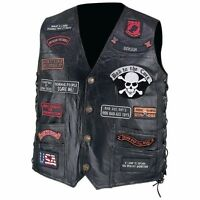 Mens Black Leather Motorcycle VEST w/ 23 Patches US Flag Eagle Biker Skull Laces
