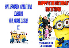 Despicable Me Minion Personalised Birthday Card -  Any name and Age