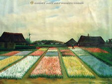 """Flower Beds in Holland""  Vincent van Gogh,  Reproduction in Oil, 54""x40"""