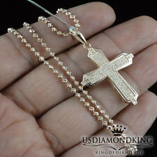 Rose Copper Gold Finish Sterling Silver Real .30ct Diamond Cross Chain Necklace