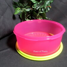 Tupperware New Servalier Stacking Cookie Canister - 6 1/2 cup Pink Green Seal