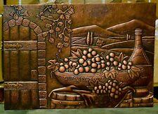 Handmade Custom Copper Mural with a country wine design in landscape