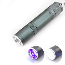2 led Purple white UV Violet flashlight Ultraviolet Zoom Flash light Blacklight