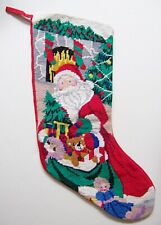 Needlepoint Christmas Stocking ~ Santa Delivers Toys ~ 18""