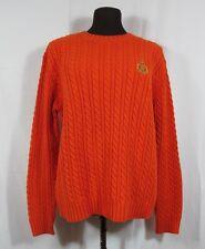 Ralph Lauren Orange Cotton Cable Knit Crewneck Sweater Large