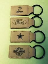 Key Chain - Leather-Laser Engraved Name-Sports Teams-Military All Personalized!