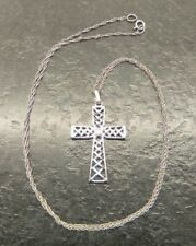 """Vintage 9ct White Gold Crucifix & Fine Rope Link Chain, 18"""" In Length."""