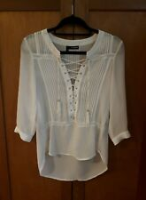 a83114f6 The Kooples White Lace Up Front Blouse Top Shirt Size S
