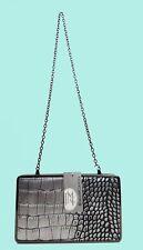 JESSICA McCLINTOCK Silver Snake Skin Leather Clutch/Shoulder Bag Msrp $24.99