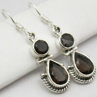 925 Fine Silver Smoky Quartz Dangle Earrings Beautiful Gift Jewelry